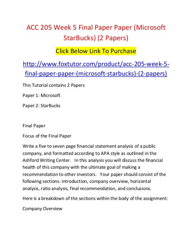 acc 205 week 5 final paper paper microsoft star bucks 2 papers
