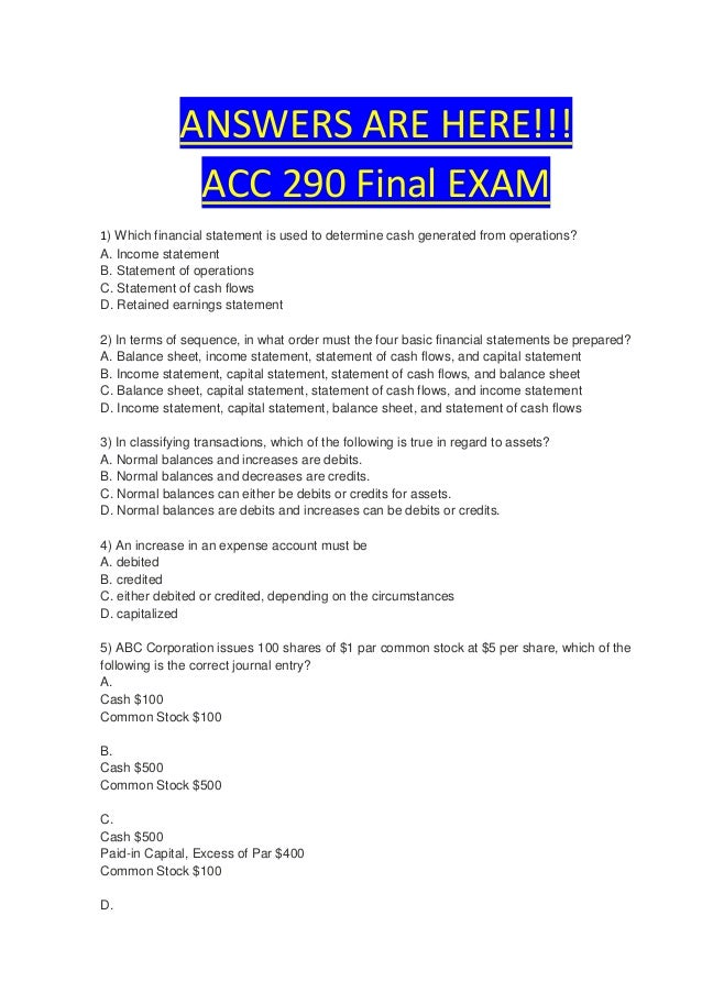 Acc 290 finanical statements paper