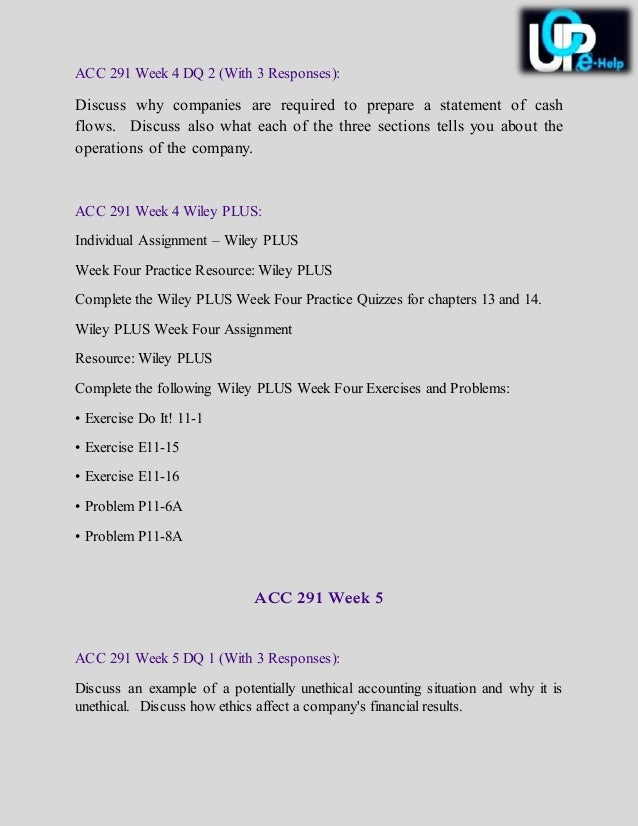 acc 291 week 3 indidual statement of cash flow Acc/291 problem 12-10a  in dire of need of help  preparing a cash flow statement is a process that you learn only by doing it i prefer the t .