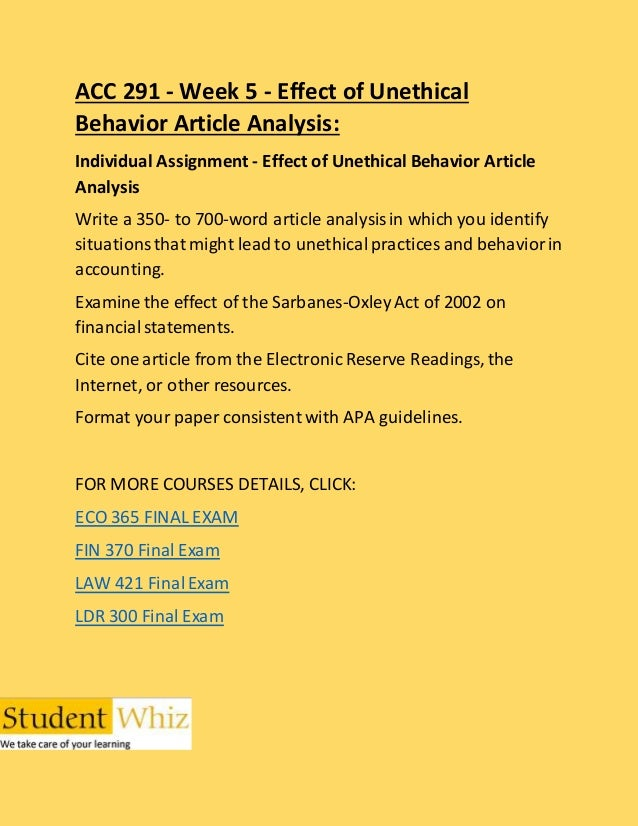 Effect of Unethical Behavior Article Analysis for Accounting Essay