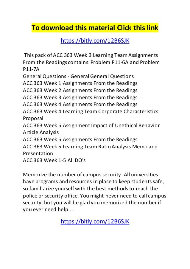 To download this material Click this link  https://bitly.com/12B6SJK  This pack of ACC 363 Week 3 Learning Team Assignment...