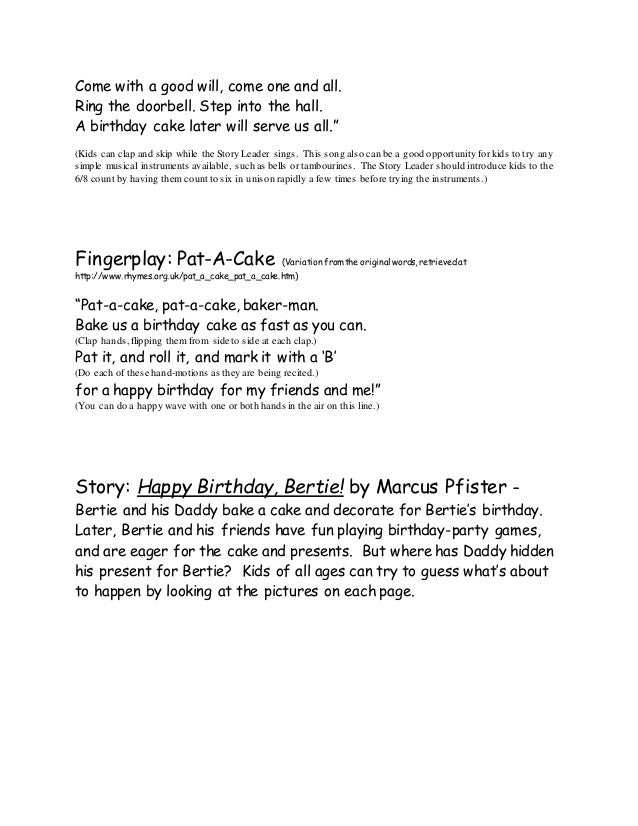 Birthday Themed Family Story Time