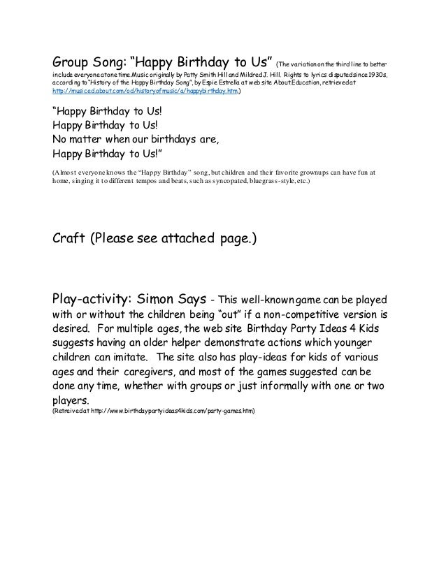 Lyric birthday song lyrics : Birthday Themed Family Story Time