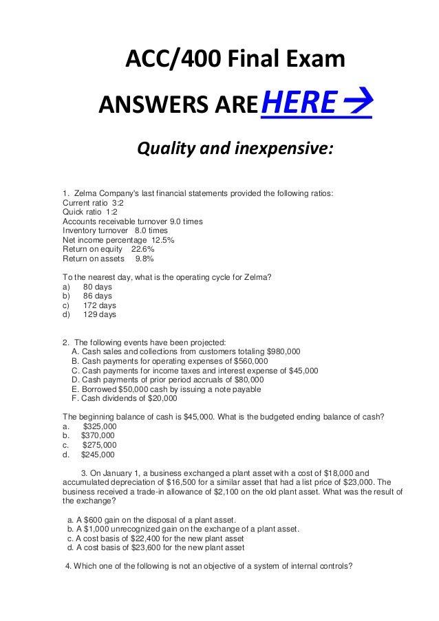 Accounting 1 Final Exam