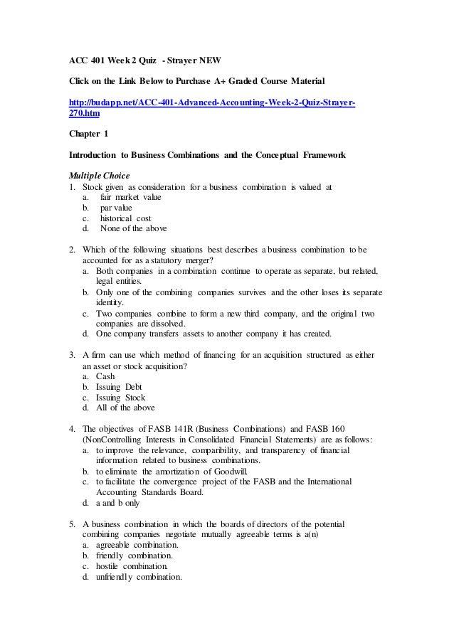 acc  advanced accounting week  quiz