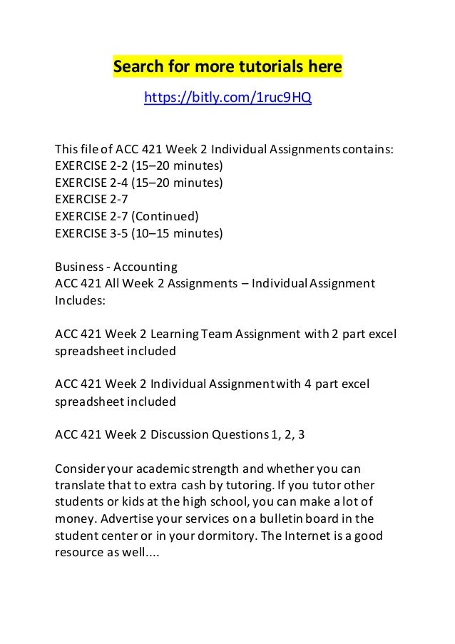 Acc 421 week 1 individual assignments
