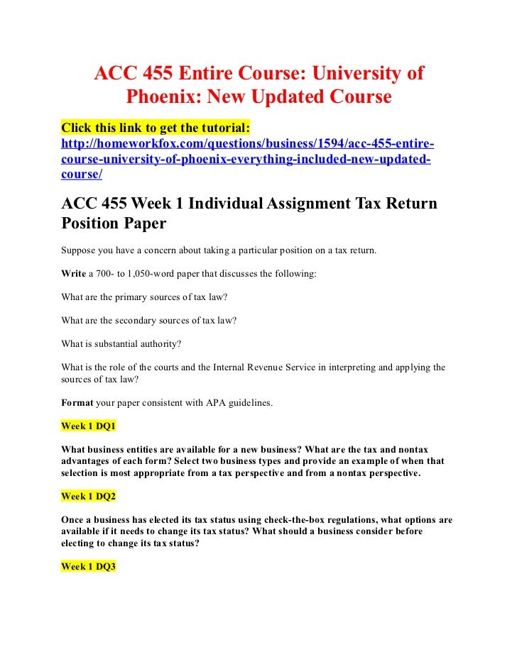 ACC 455 Entire Course: University of          Phoenix: New Updated CourseClick this link to get the tutorial:http://homewo...