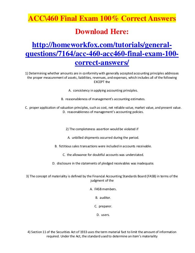 ACC460 Final Exam 100% Correct Answers                                    Download Here:  http://homeworkfox.com/tutorials...