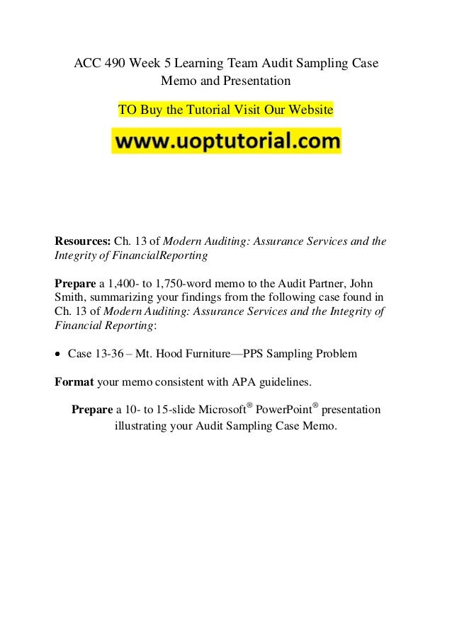 audit sampling case memo To purchase this material click below read more about audit, sampling and memo.