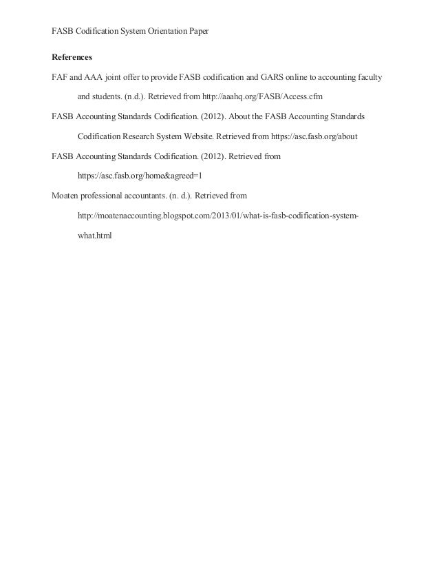 Acc497 week 1 fasb codification system orientation paper
