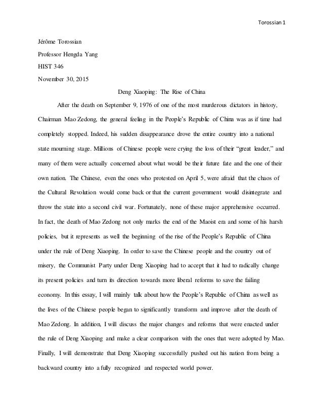 Computer Science Essay Topics Torossian  Jrme Torossian Professor Hengda Yang Hist  November    Deng Xiaoping  Writing A High School Essay also Research Proposal Essay Example Deng Xiaoping The Rise Of China Synthesis Example Essay