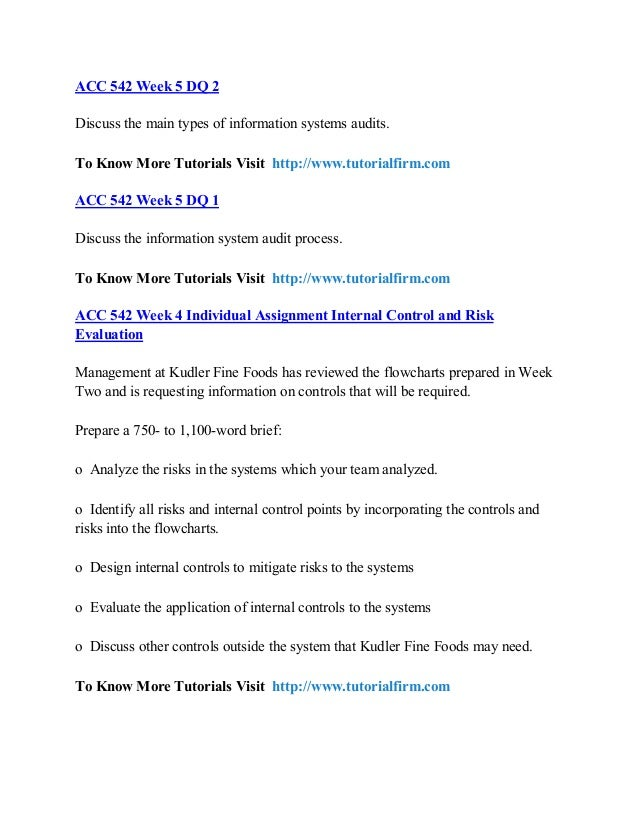 kudler internal controls For more classes visit wwwacc542homeworkcom management at kudler fine foods has reviewed the flowcharts prepared in week two and is requesting information on controls that will be required.