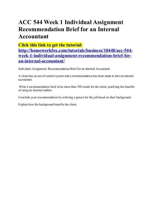 Acc 544 week 1 individual assignment recommendation brief for an inte…