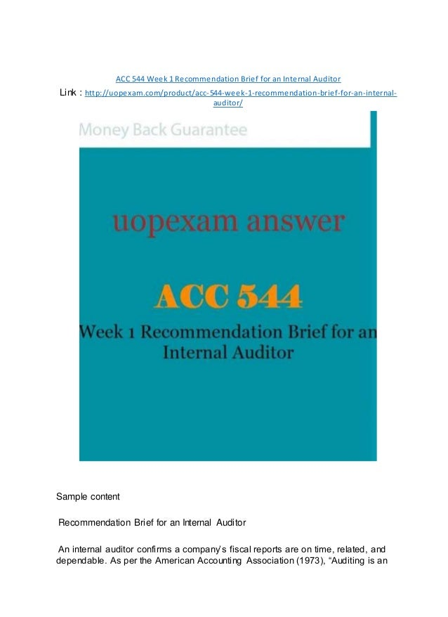 ACC 544 Week 1 Recommendation Brief for an Internal Auditor 2015 vers…