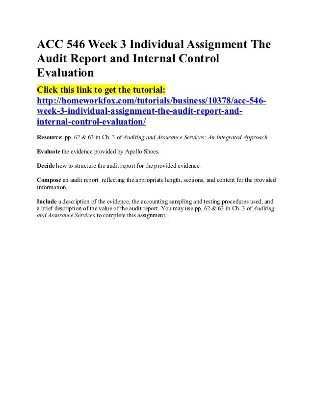 Acc 546 beginning the audit report