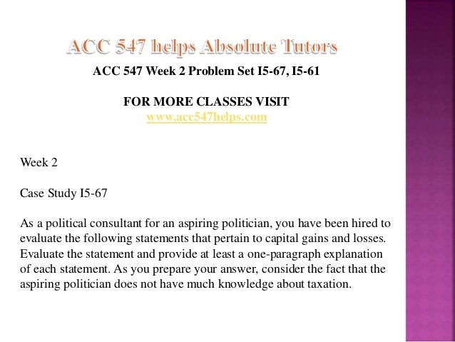 ACC 547 Assignment Week 2 Problem Set