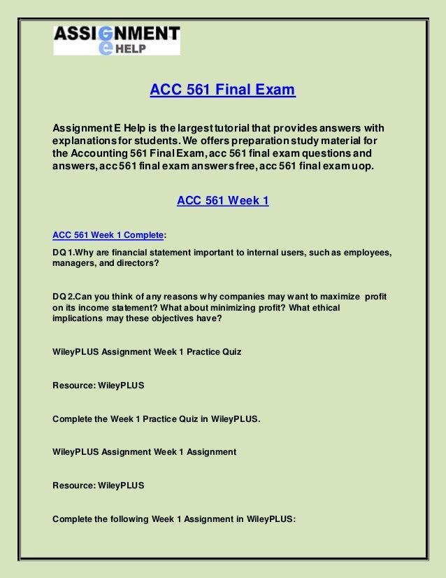 Exam Answers and Study Guides
