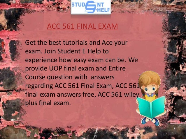 ACC 561 Week 6 WileyPLUS Assignment (with Excel File)