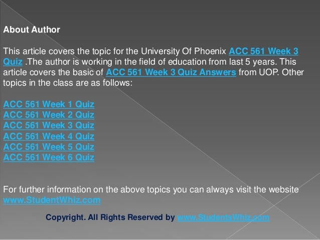 acc 561 week 3 discussion questions About the university of phoenix acc accounting 561 final exam answers, acc 561 so boost your marks by availing the best study material, questions and.
