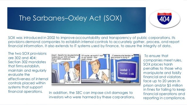 analysis of the sarbanes oxley act The us sarbanes–oxley act of 2002: summary and update for non-us issuers alexander f cohen and d jamal qaimmaqami received: 26th october, 2004.