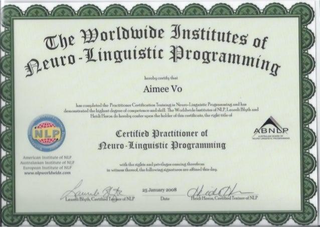 Worldwide Institutes of NLP - Certified Practitioner of ...