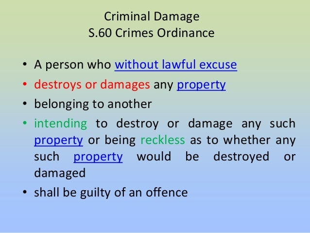 Gross Reckless Damage To Property Criminal Law