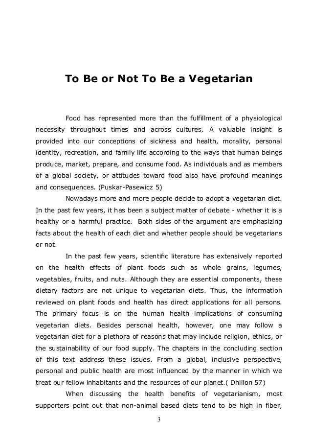 Vegetarian diet argumentative essay