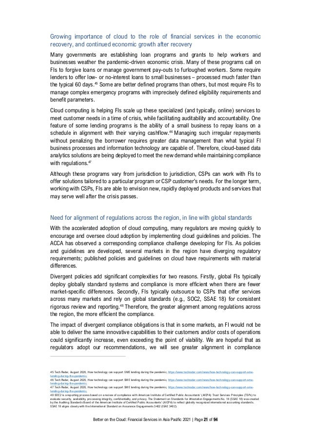 Better on the Cloud: Financial Services in Asia Pacific 2021 | Page 21 of 94 Growing importance of cloud to the role of fi...