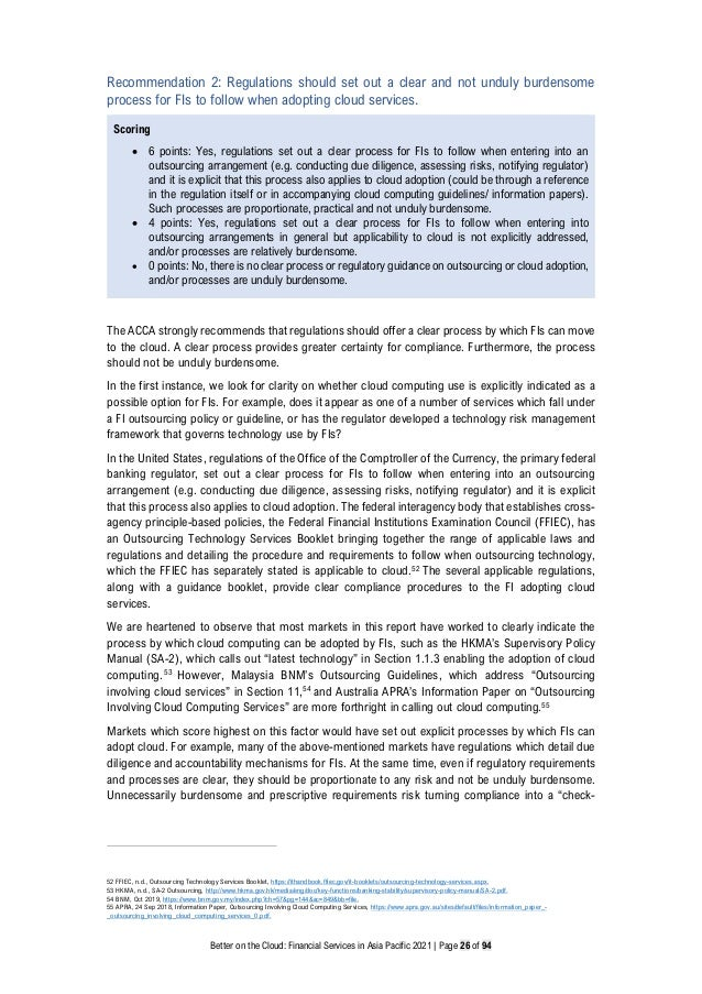 Better on the Cloud: Financial Services in Asia Pacific 2021 | Page 26 of 94 Recommendation 2: Regulations should set out ...