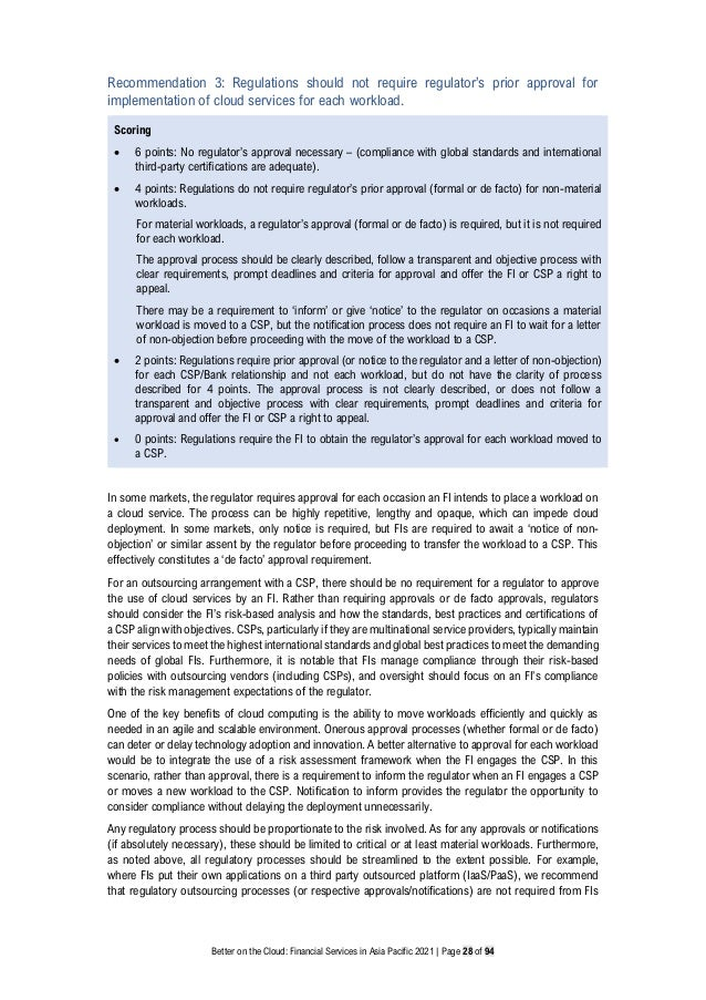 Better on the Cloud: Financial Services in Asia Pacific 2021 | Page 28 of 94 Recommendation 3: Regulations should not requ...