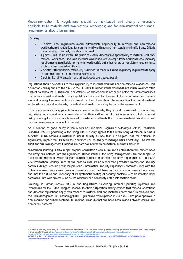 Better on the Cloud: Financial Services in Asia Pacific 2021 | Page 30 of 94 Recommendation 4: Regulations should be risk-...