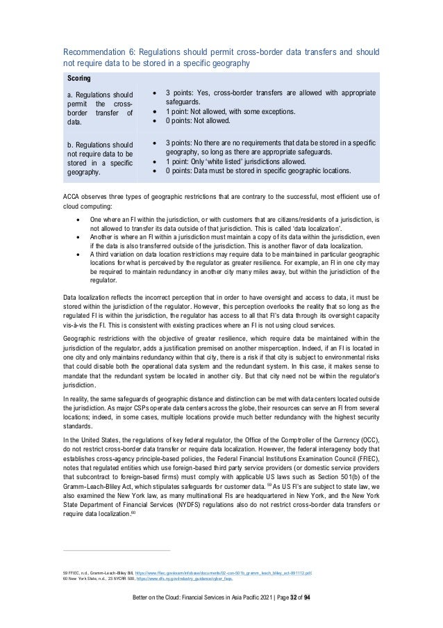 Better on the Cloud: Financial Services in Asia Pacific 2021 | Page 32 of 94 Recommendation 6: Regulations should permit c...