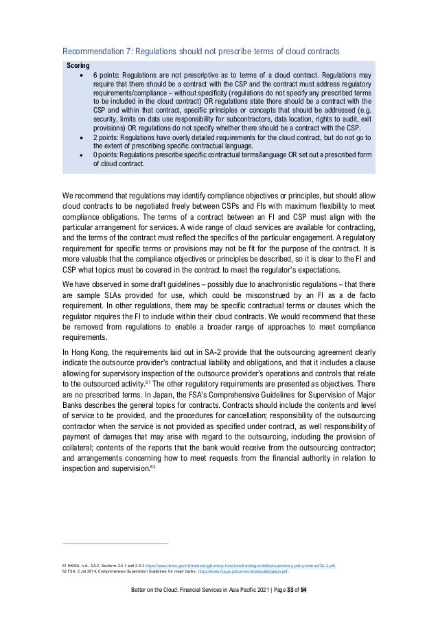 Better on the Cloud: Financial Services in Asia Pacific 2021 | Page 33 of 94 Recommendation 7: Regulations should not pres...
