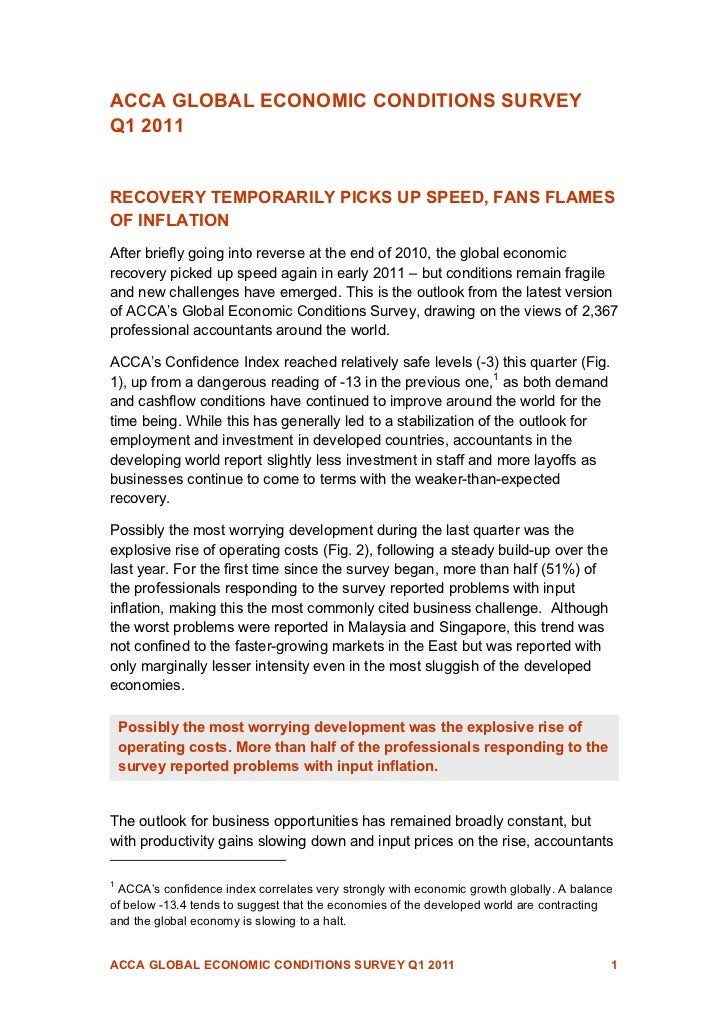 ACCA GLOBAL ECONOMIC CONDITIONS SURVEYQ1 2011RECOVERY TEMPORARILY PICKS UP SPEED, FANS FLAMESOF INFLATIONAfter briefly goi...