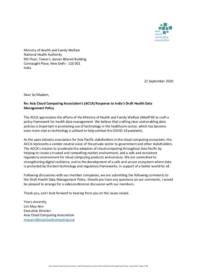 Asia Cloud Computing Association's (ACCA) Response to the Draft Health Data Management Policy | Sep 2020 | Page 1 of 4 Min...
