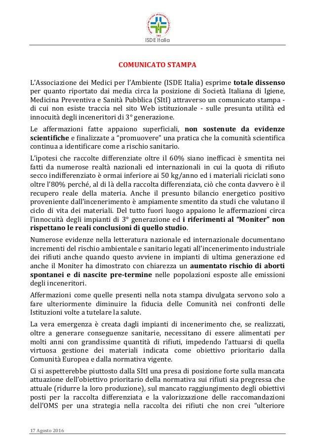 ISDE Italia 17 Agosto 2016 COMUNICATO STAMPA L'Associazione dei Medici per l'Ambiente (ISDE Italia) esprime totale dissens...