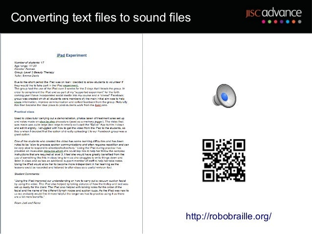 Converting text files to sound files                                   http://robobraille.org/