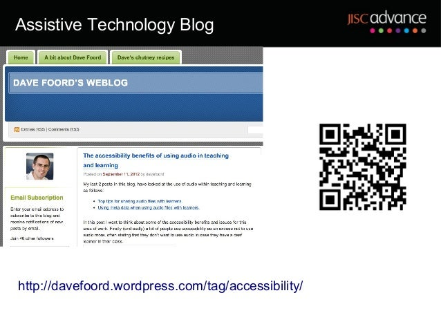 Assistive Technology Bloghttp://davefoord.wordpress.com/tag/accessibility/