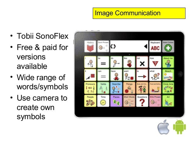 Image Communication• Tobii SonoFlex• Free & paid for  versions  available• Wide range of  words/symbols• Use camera to  cr...