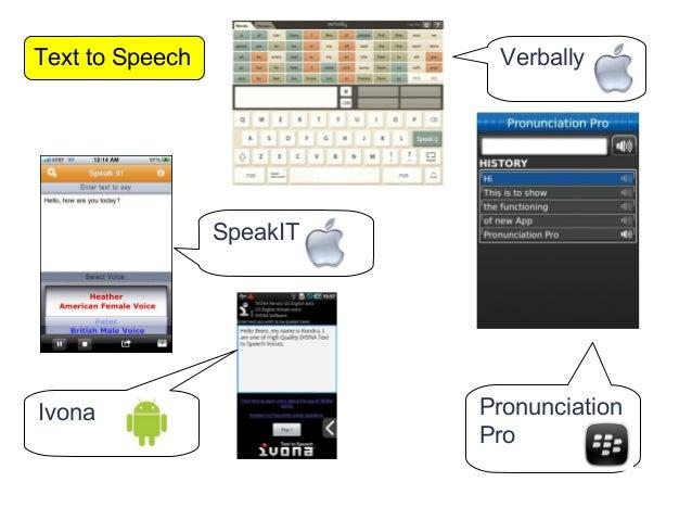 Text to Speech              Verbally                 SpeakITIvona                      Pronunciation                      ...