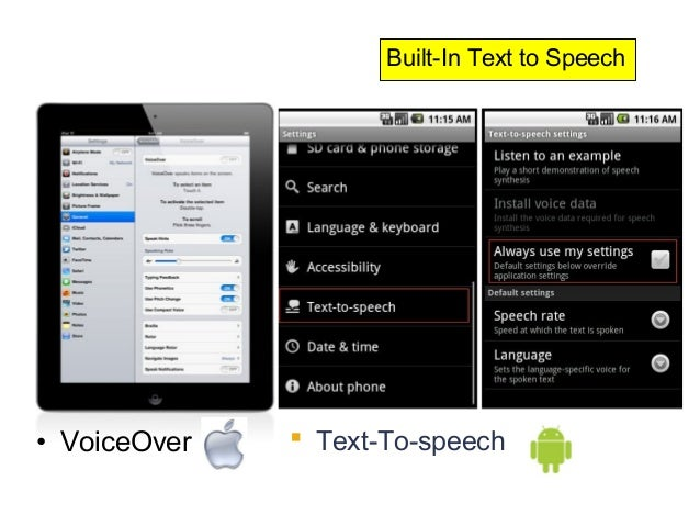 Built-In Text to Speech• VoiceOver    Text-To-speech