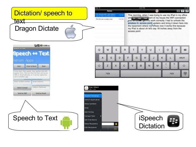 Dictation/ speech totextDragon DictateSpeech to Text         iSpeech                       Dictation