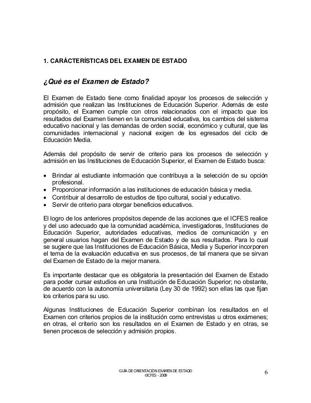 Estructura del Examen de Estado  Tabla 1. Estructura General del Examen de Estado  COMPONENTES  PRUEBAS  Nº PREGUNTAS  Len...