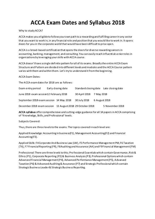 ACCA Exam Dates and Syllabus 2018