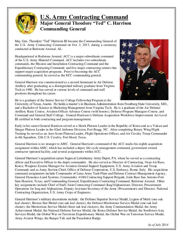 Biography maj gen theodore ted harrison iii acc for Military biography template