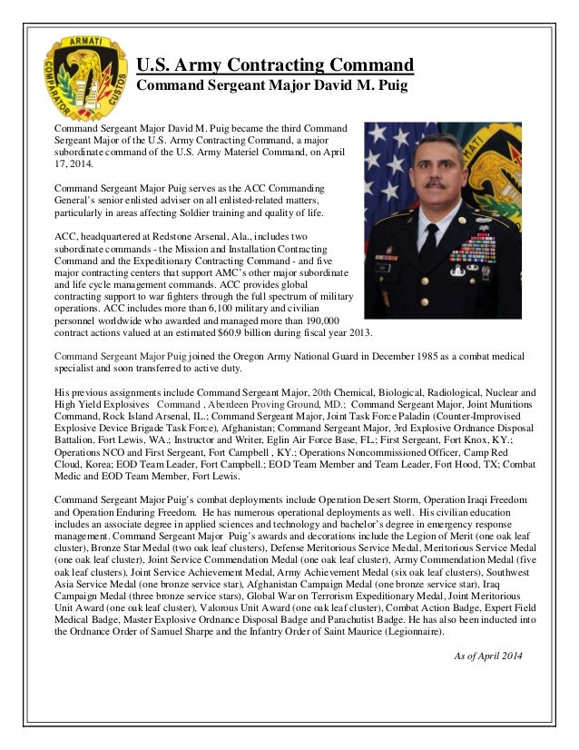 U.S. Army Contracting Command Command Sergeant Major David M. Puig Command Sergeant Major David M. Puig became the third C...