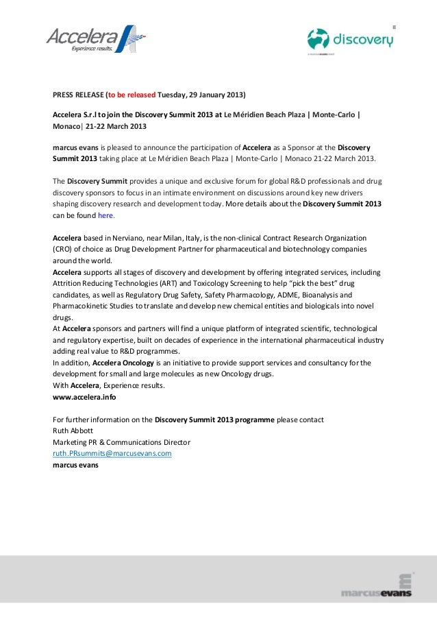 PRESS RELEASE (to be released Tuesday, 29 January 2013)Accelera S.r.l to join the Discovery Summit 2013 at Le Méridien Bea...
