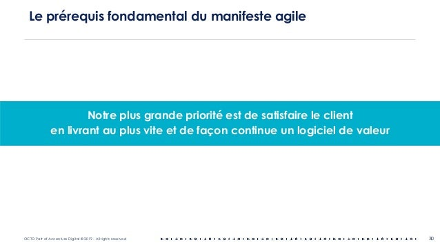 OCTO Part of Accenture Digital © 2019 - All rights reserved 30 Le prérequis fondamental du manifeste agile Notre plus gran...