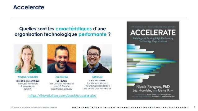 OCTO Part of Accenture Digital © 2019 - All rights reserved 5 Accelerate https://itrevolution.com/book/accelerate/ Quelles...