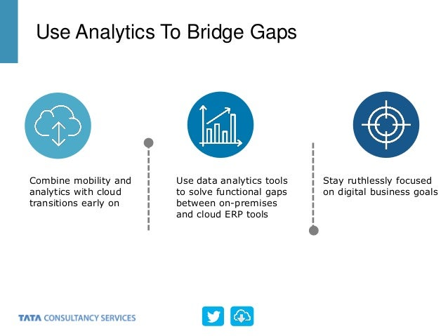 Use Analytics To Bridge Gaps Combine mobility and analytics with cloud transitions early on Use data analytics tools to so...